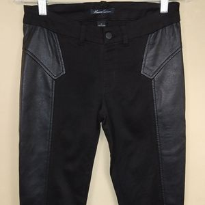 Kenneth Cole Mixed Media Vegan Leather Jeans Sz 27